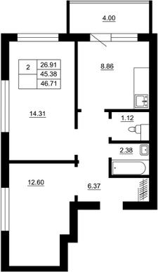 Планировка Двухкомнатная квартира площадью 46.71 кв.м в ЖК «Воронцов»