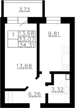 Планировка Однокомнатная квартира площадью 45.02 кв.м в ЖК «Воронцов»