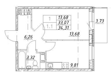 Планировка Однокомнатная квартира площадью 34.31 кв.м в ЖК «Воронцов»