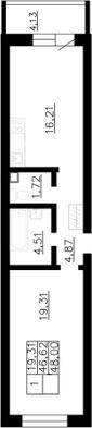 Планировка Однокомнатная квартира площадью 48 кв.м в ЖК «Воронцов»