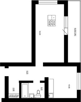 Планировка Однокомнатная квартира площадью 43.06 кв.м в ЖК «Воронцов»